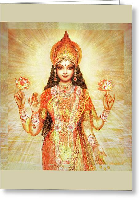 Lakshmi The Goddess Of Fortune And Abundance Greeting Card