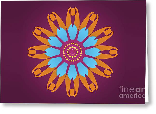 Landscape Purple Back And Abstract Orange And Blue Star Greeting Card by Pablo Franchi