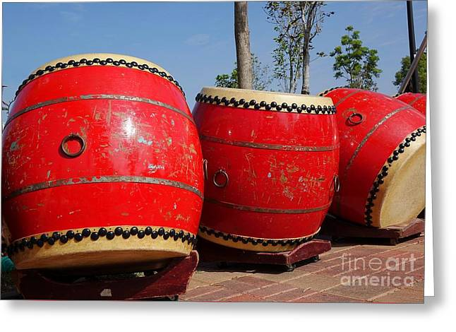 Large Chinese Drums Greeting Card