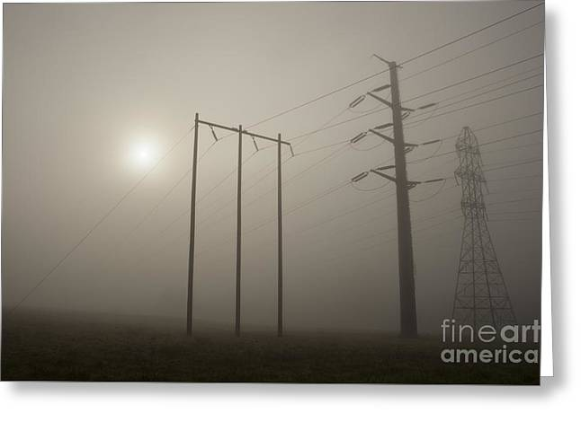 Large Transmission Towers In Fog Greeting Card