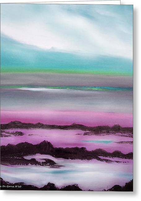 Lava Rock Sunset In Blue And Purple Greeting Card