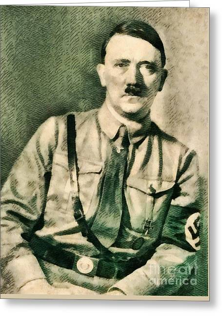 Leaders Of Wwii - Adolf Hitler Greeting Card by John Springfield
