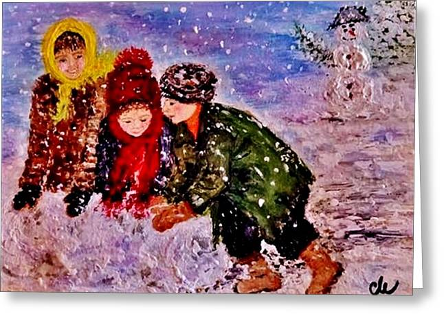 Greeting Card featuring the painting Let It Snow..let It Snow..  by Cristina Mihailescu