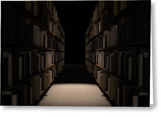 Library Bookshelf Aisle Greeting Card by Allan Swart