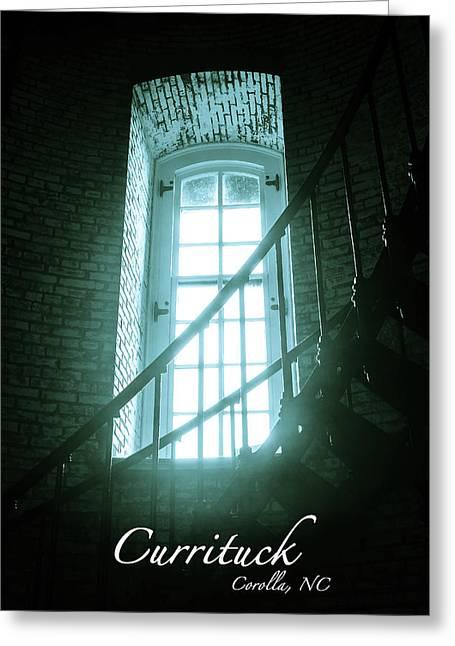 Light Through The Currituck Window - Text Greeting Card by Joni Eskridge