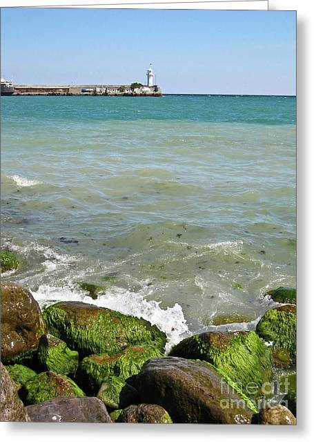 Lighthouse In Sea Greeting Card