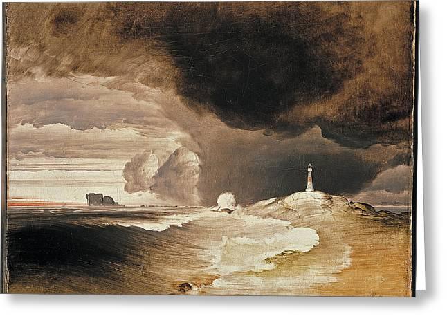 Lighthouse On The Norwegian Coast Greeting Card by Peder Balke