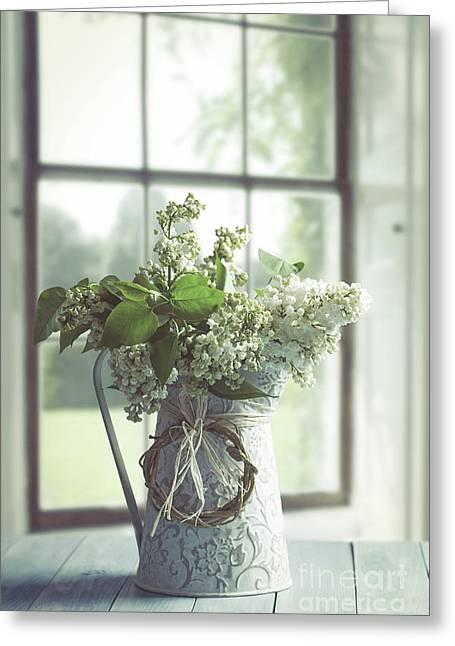 Lilac Flowers Still Life Greeting Card by Amanda Elwell