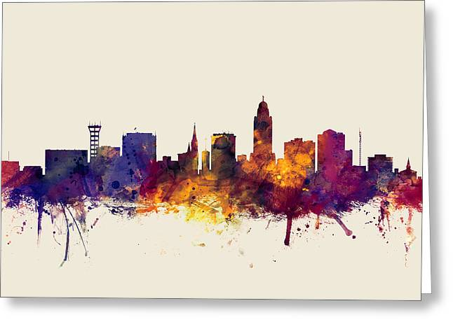 Lincoln Nebraska Skyline Greeting Card by Michael Tompsett