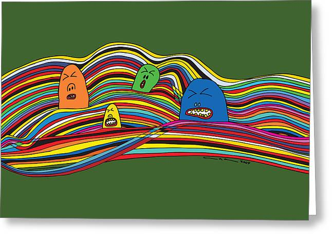 Line Faces Greeting Card by Karl Addison