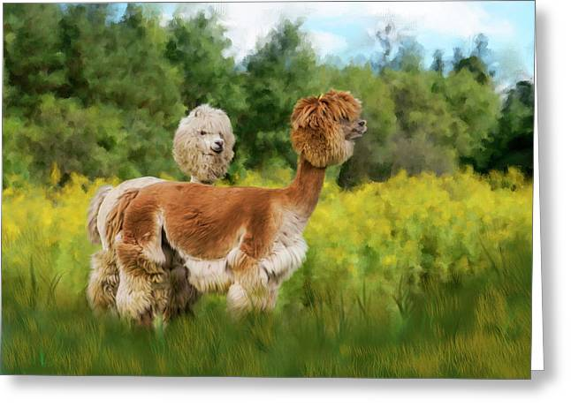 2 Little Llamas Greeting Card by Mary Timman