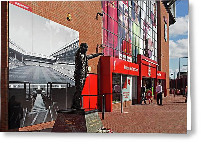 Liverpool Uk, 17th September 2016. Statue Of Bill Shankly At Liverpool Football Club's Stadium Greeting Card