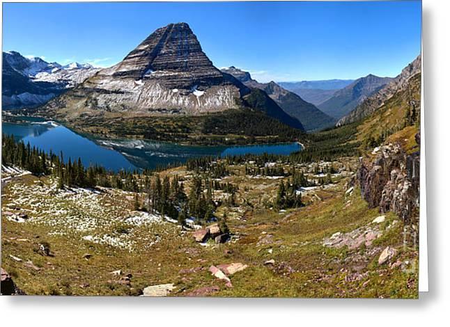 Logan Pass Hidden Lake Panorama Greeting Card by Adam Jewell