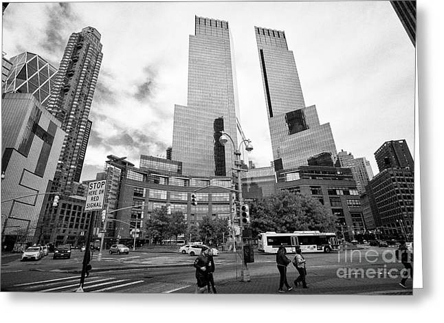 looking along central park south towards columbus circle and the time warner center New York City US Greeting Card