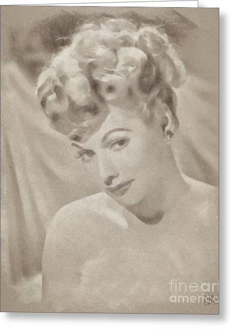 Lucille Ball Vintage Hollywood Actress Greeting Card by John Springfield