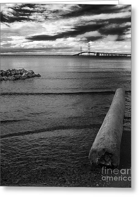 Upper Peninsula Greeting Cards - Mackinac Bridge - Infrared Greeting Card by Larry Carr