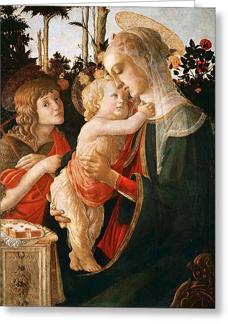 Madonna And Child With St. John The Baptist Greeting Card