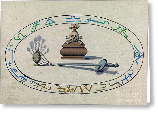 Magic Circle, Cabbalistic Symbols Greeting Card by Science Source