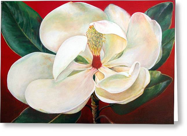 Magnolia Greeting Card by Muriel Dolemieux