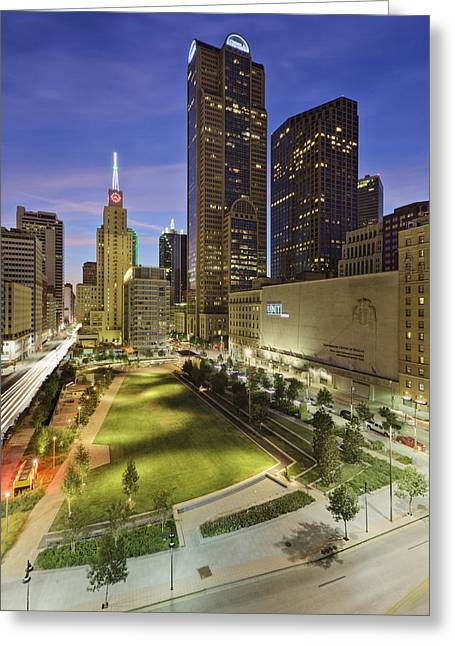 Main Street Greeting Cards - Main Street Garden Park in Downtown Dallas Greeting Card by Jeremy Woodhouse
