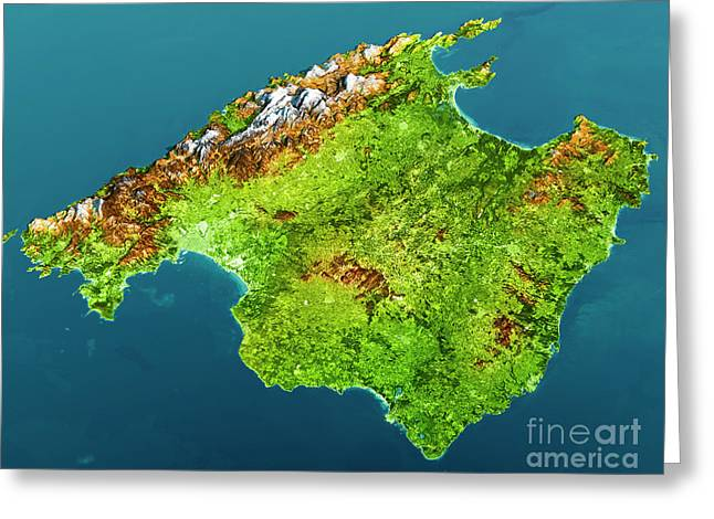 Mallorca Island Topographic Map 3d View Color Greeting Card by Frank Ramspott