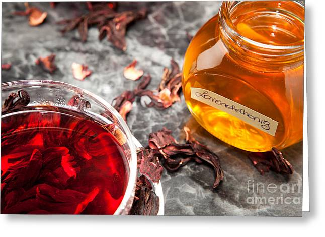Mallow Tea In Glass Cup With Honey Greeting Card by Wolfgang Steiner