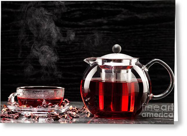 Mallow Tea In Glass With Dried Mallow Blossoms Greeting Card