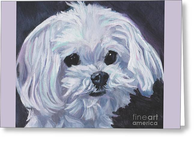 Greeting Card featuring the painting Maltese by Lee Ann Shepard