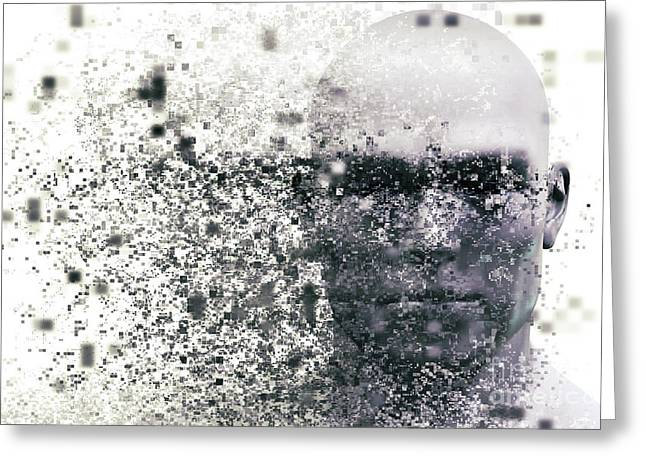 Man Face With Pixel Dispersion Effect. Concept Of Technology, Modern Science But Also Disintegration Greeting Card by Michal Bednarek