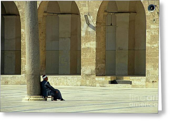 Man Sitting Inside The Great Mosque Of Aleppo Greeting Card by Sami Sarkis