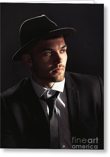 Man Wearing Trilby Greeting Card by Amanda Elwell