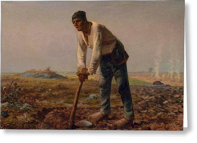 Man With A Hoe Greeting Card by Jean Francois Millet