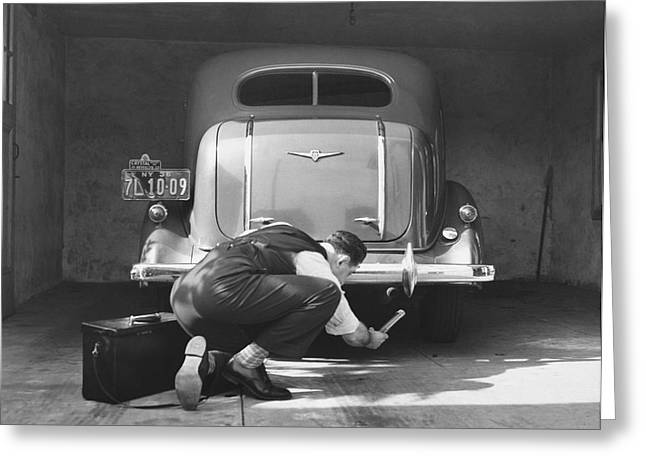 Man Working On His Car Greeting Card by Underwood Archives