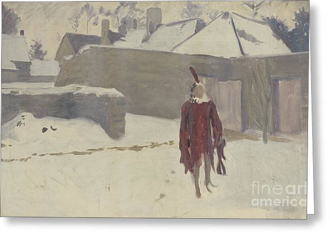 Mannikin In The Snow Greeting Card by John Singer Sargent
