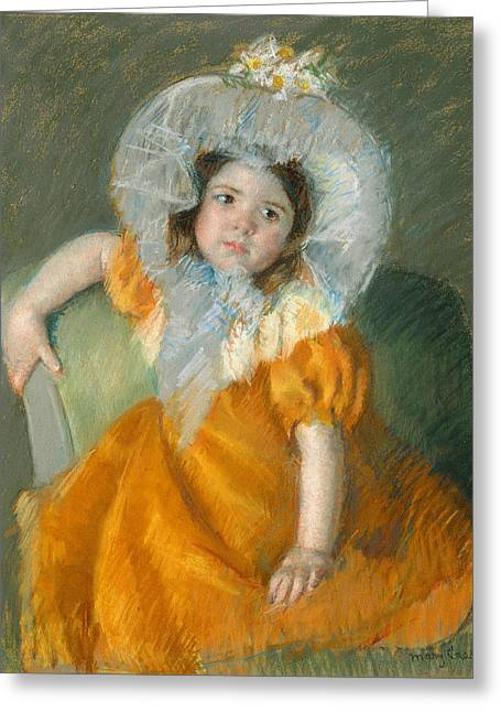Margot In Orange Dress Greeting Card by Mary Cassatt