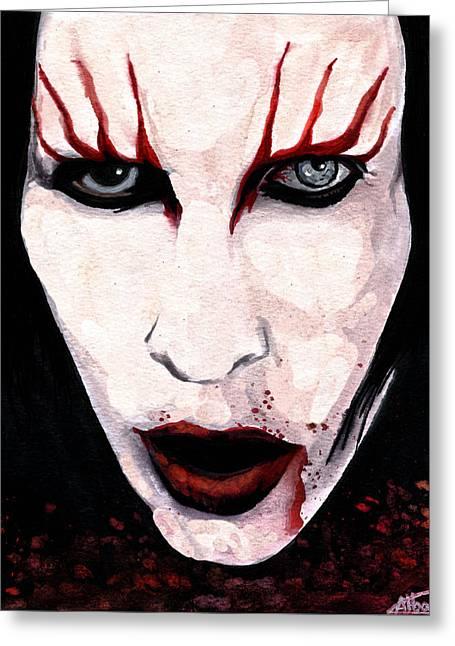 Gothic Mixed Media Greeting Cards - Marilyn Manson Portrait Greeting Card by Alban Dizdari
