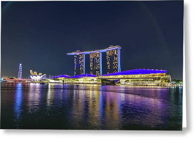 Marina Bay Sands And The Artscience Museum In Singapore Greeting Card