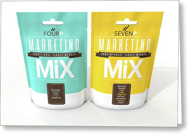 Marketing Mix 4 And 7 P's Greeting Card by Allan Swart