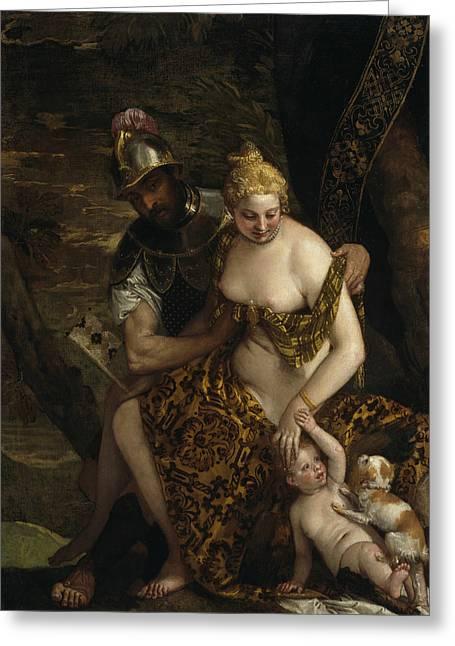 Mars, Venus And Cupid Greeting Card