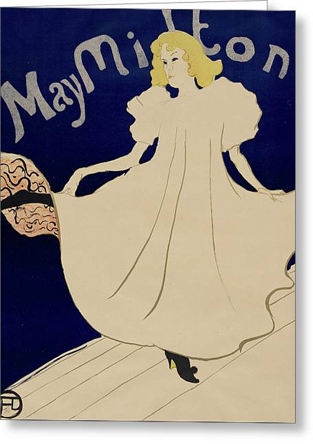May Milton Greeting Card by Henri de Toulouse-Lautrec