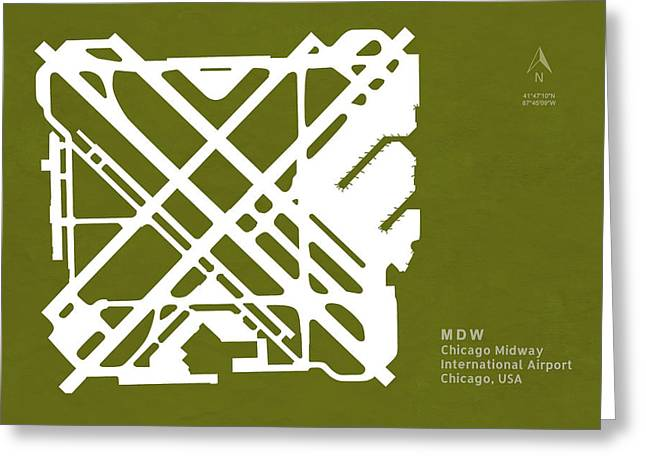 Mdw Chicago Midway International Airport In Chicago Illinois Usa Greeting Card
