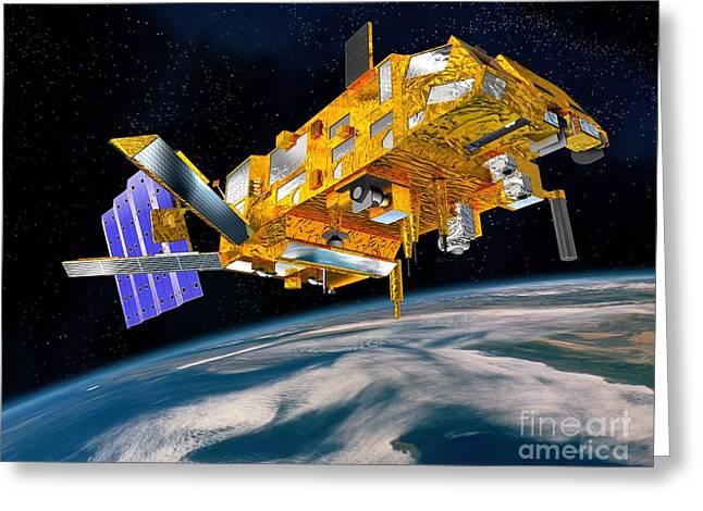 Metop Weather Satellite, Artwork Greeting Card by David Ducros