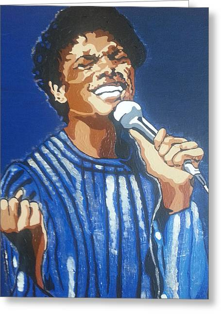 Greeting Card featuring the painting Michael Jackson by Rachel Natalie Rawlins