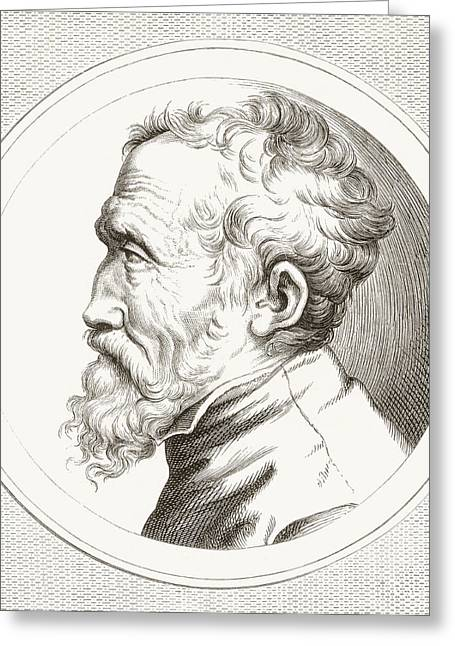Michelangelo Di Lodovico Buonarroti Greeting Card by Vintage Design Pics