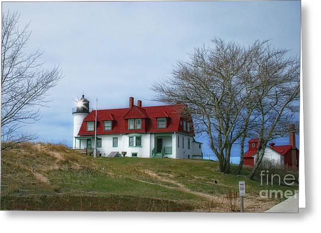 Greeting Card featuring the photograph Michigan Lighthouse by Gina Cormier