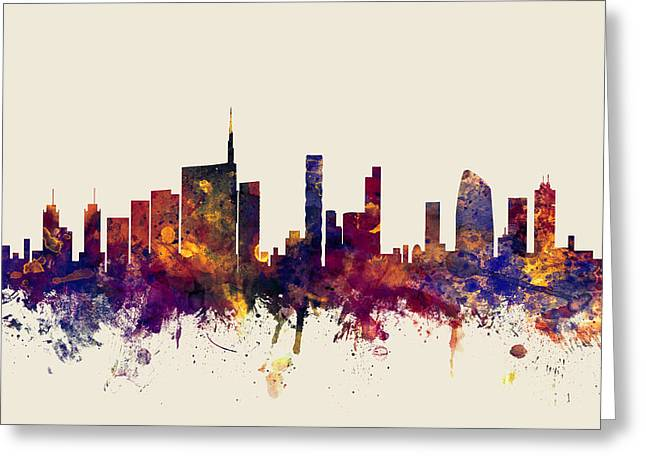 Milan Italy Skyline Greeting Card by Michael Tompsett