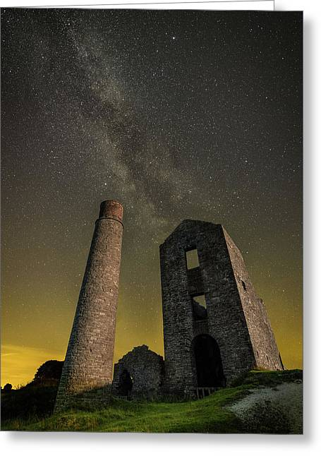 Milky Way Over Old Mine Buildings. Greeting Card
