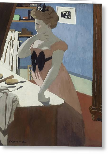 Misia At Her Dressing Table Greeting Card by Felix Vallotton