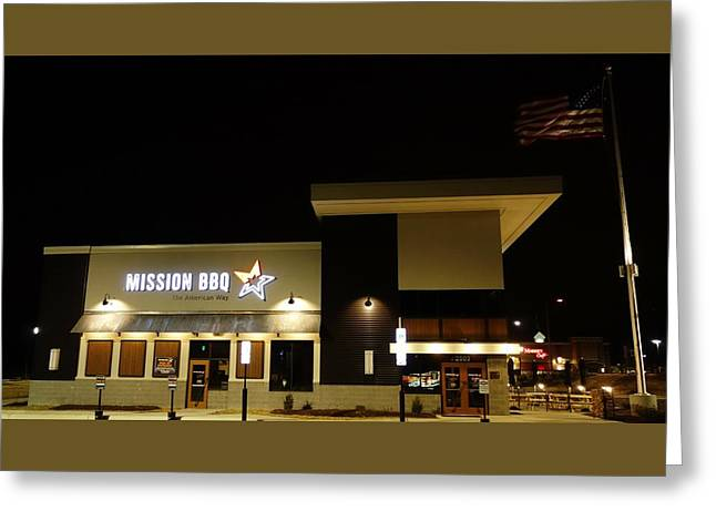 Mission Bbq Greeting Card by Anthony Schafer