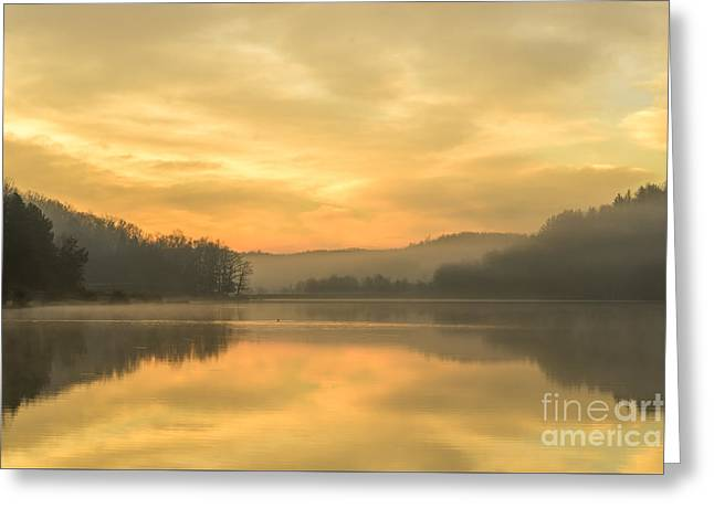 Misty Morning On The Lake Greeting Card by Thomas R Fletcher